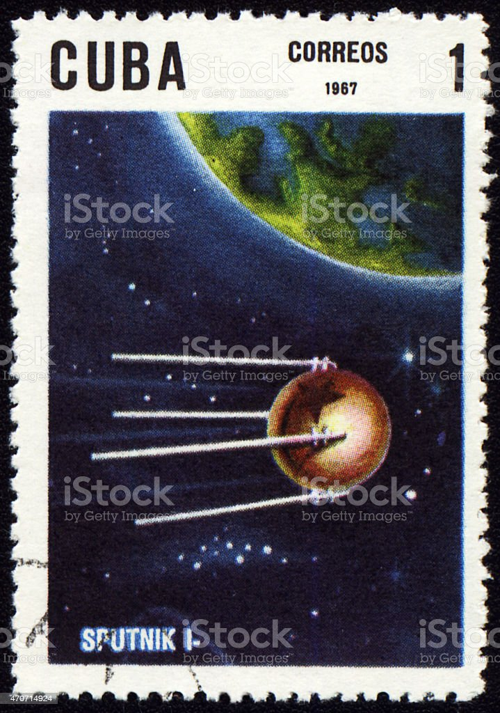 Post stamp with first russian satellite 'Sputnik-1' stock photo