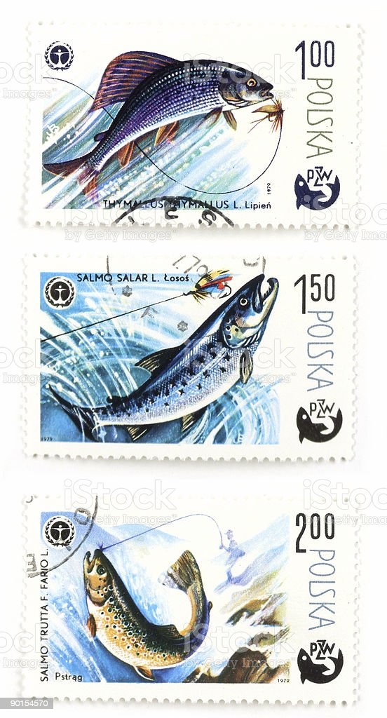 Post stamps with angling and fish royalty-free stock photo