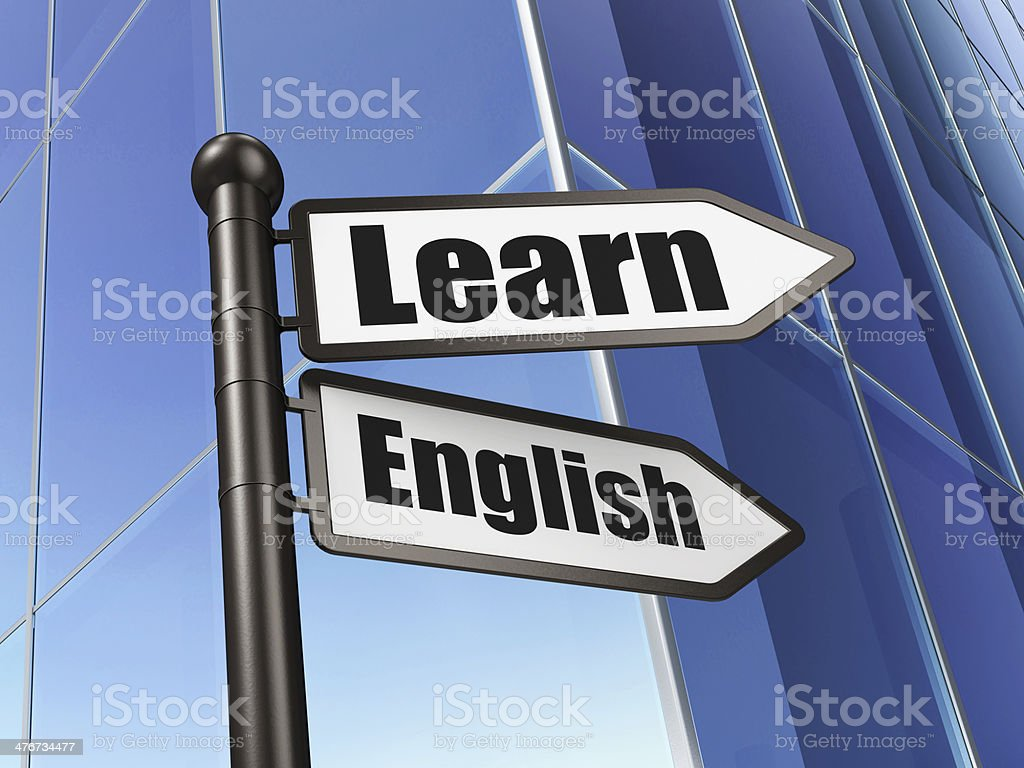 3D post with 'Learn' and 'English' signs stock photo