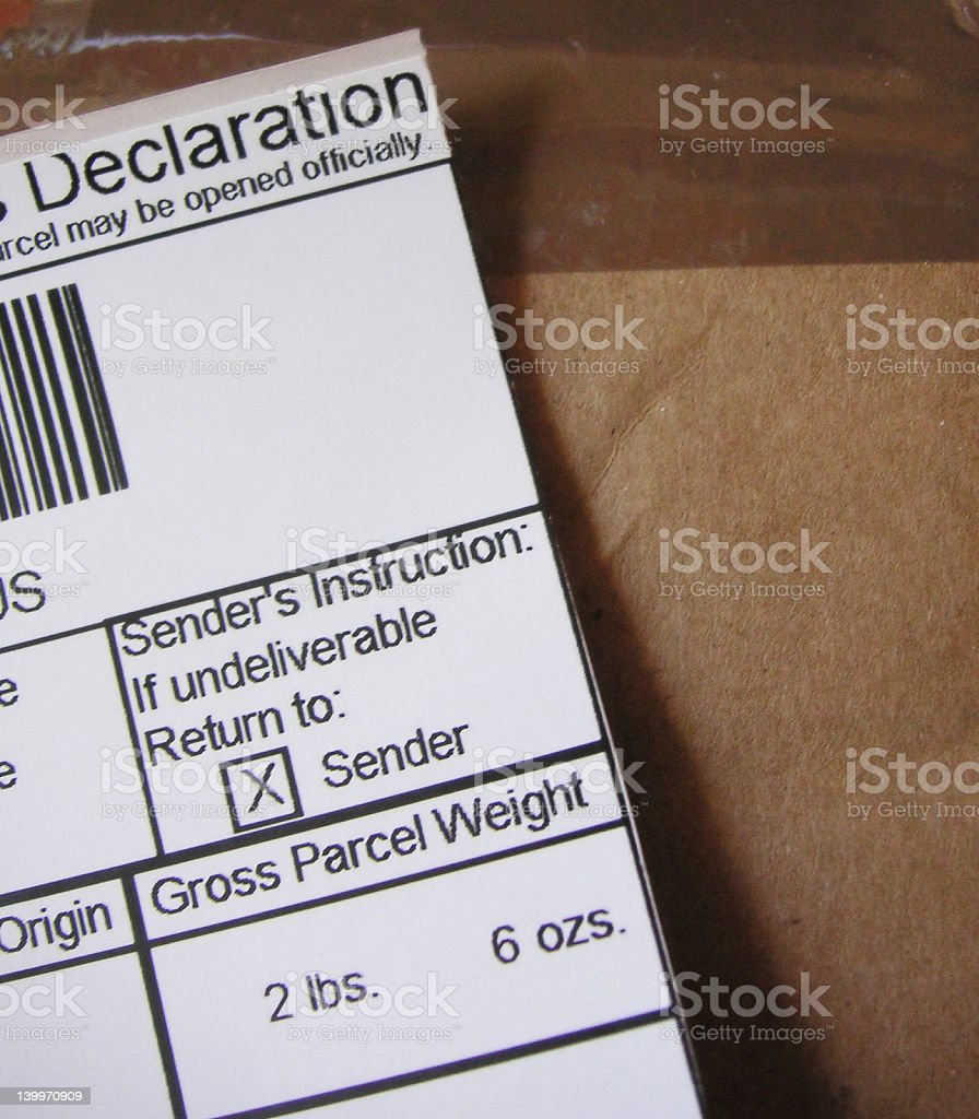 Postage - Custom's declaration royalty-free stock photo