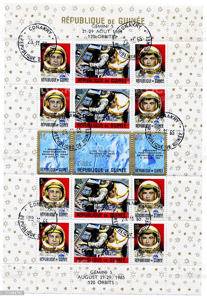 Postage stamp  about   Gemini 5 space mission royalty-free stock photo