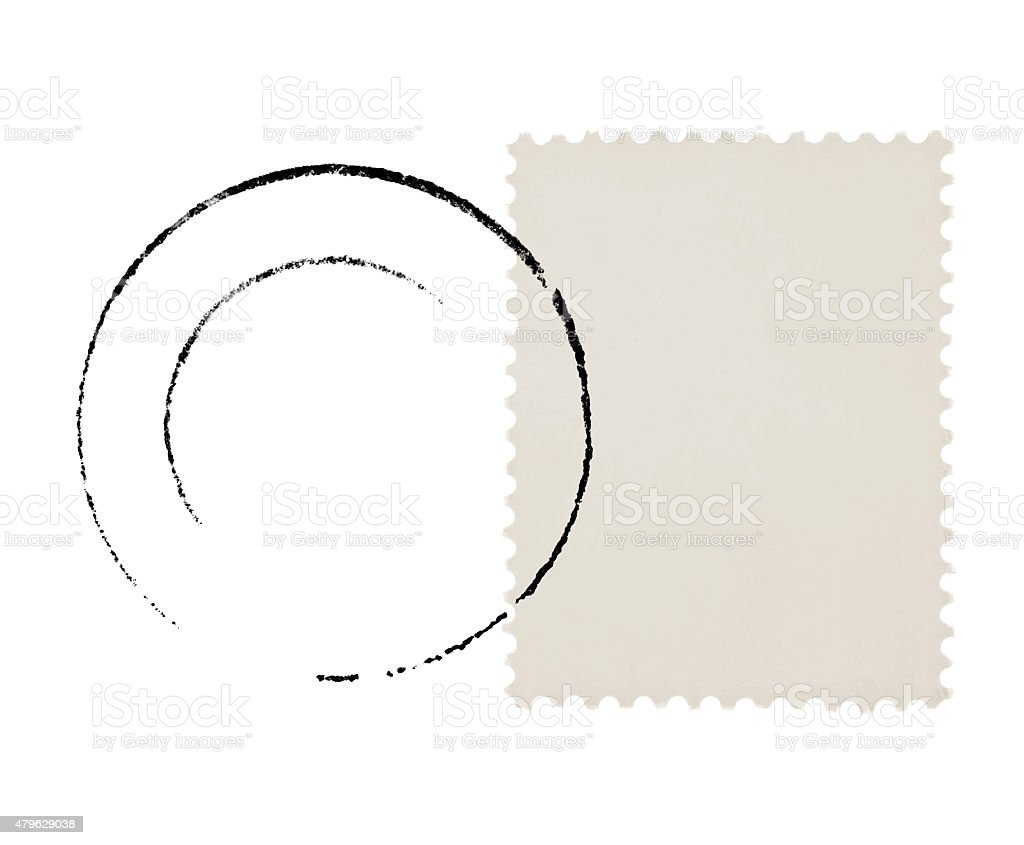 Postage Stamp and Postmark (with path on stamp) stock photo