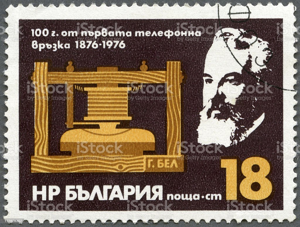 Postage stamp Bulgaria 1976 Bell and Telephone stock photo