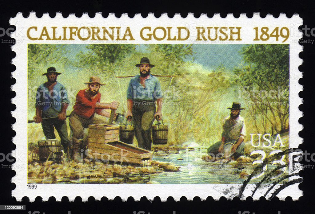 USA Postage Stamp California Gold Rush stock photo