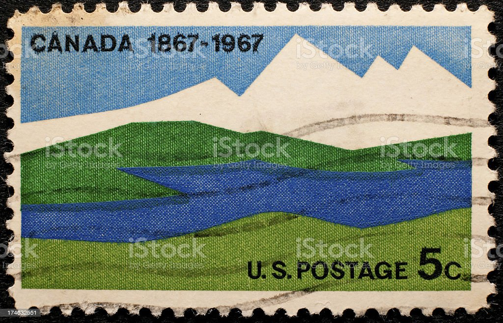 Postage Stamp Celebrating Canadian Centennial stock photo