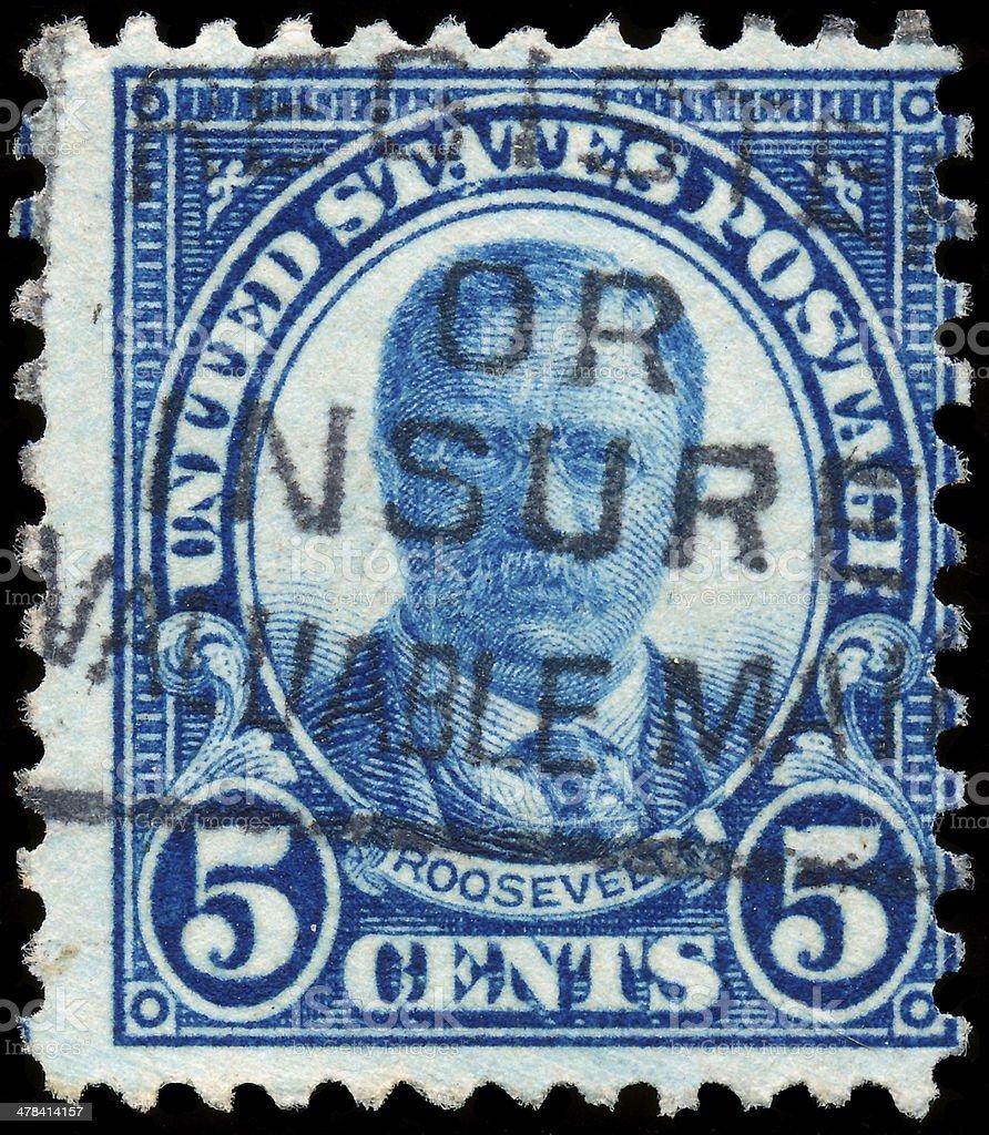 Postage Stamp celebrating Theodore Roosevelt stock photo