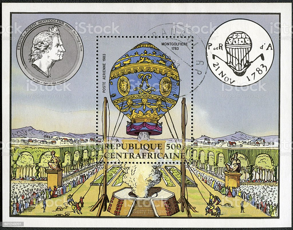 Postage stamp Central African Republic 1983 Montgolfier balloon stock photo