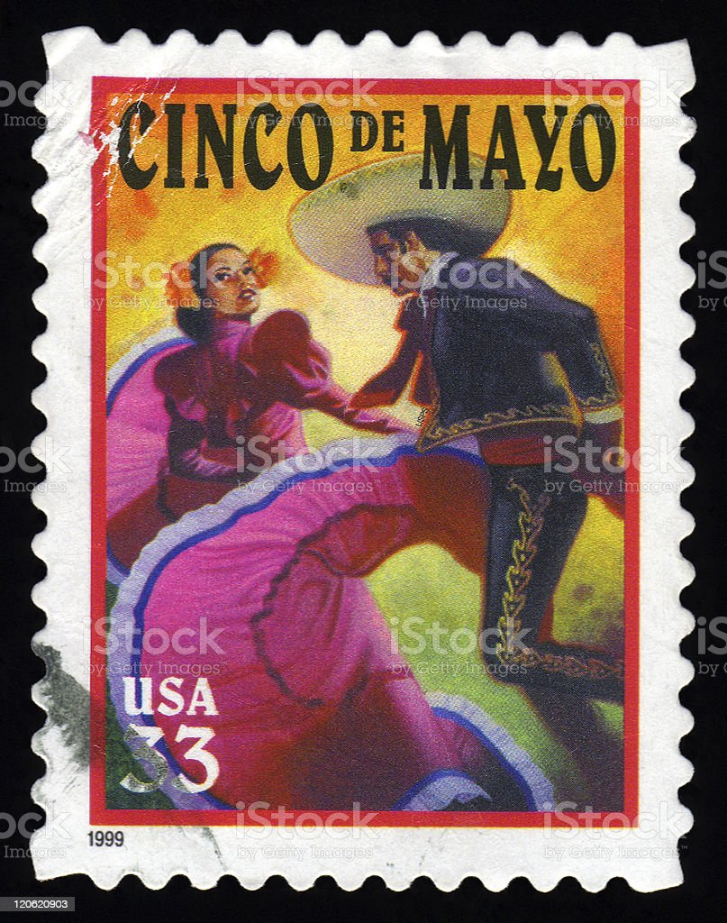 USA Postage Stamp Cinco De Mayo royalty-free stock photo