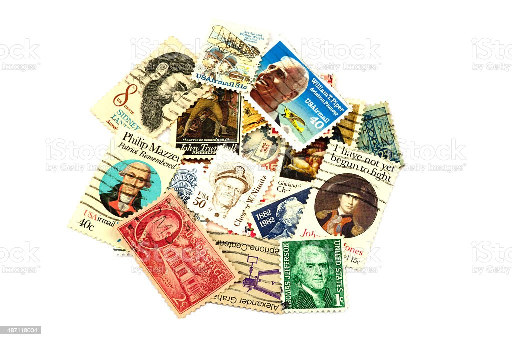 USA Postage Stamp Collection on White Background stock photo