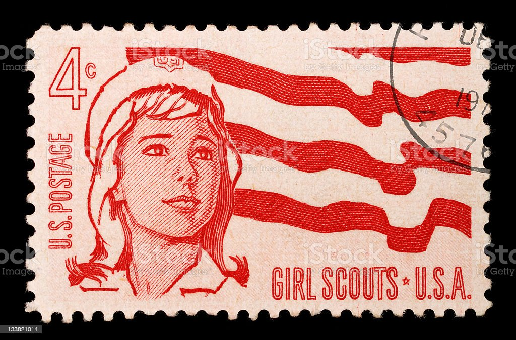 Postage stamp commemorating Girl Scouts stock photo