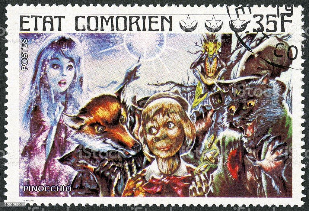 Postage stamp Comores 1976 shows Pinocchio stock photo
