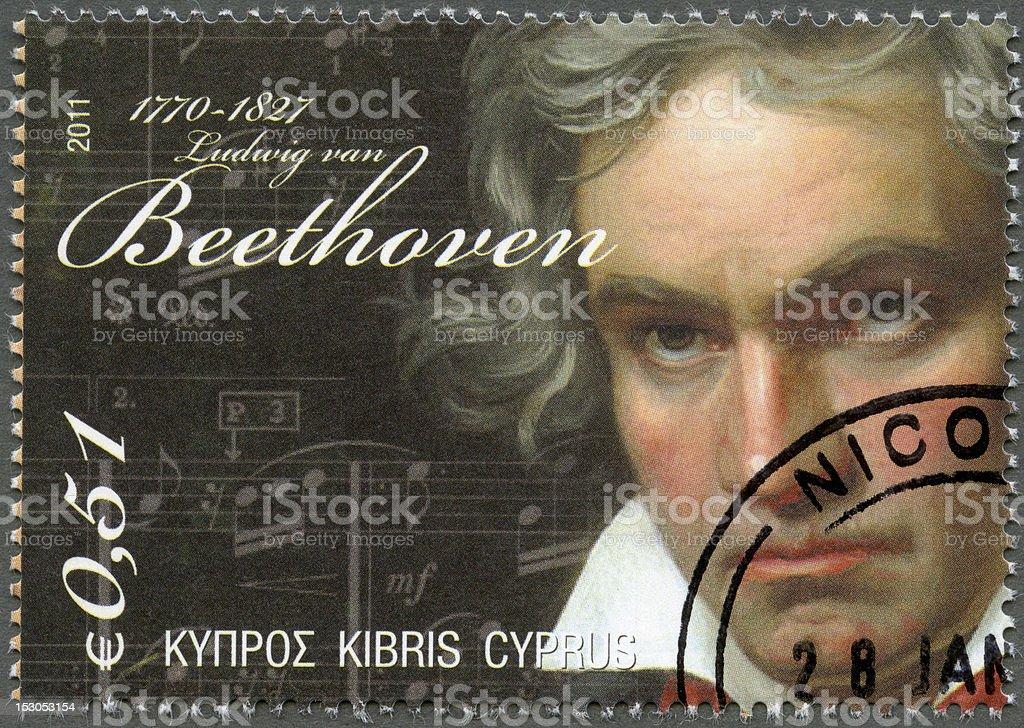 Postage stamp Cyprus 2011 Ludwig van Beethoven (1770-1827) stock photo