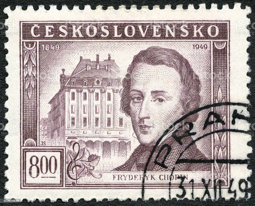 Postage stamp Czechoslovakia 1949 shows Frederic Chopin (1810-1849) stock photo