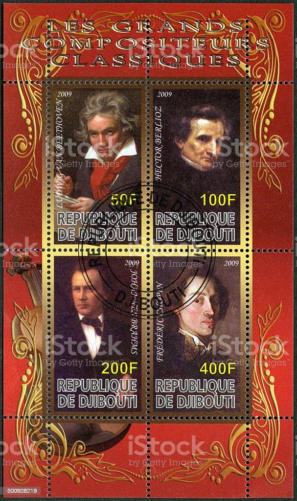 Postage stamp Djibouti 2009 shows Ludwig van Beethoven stock photo