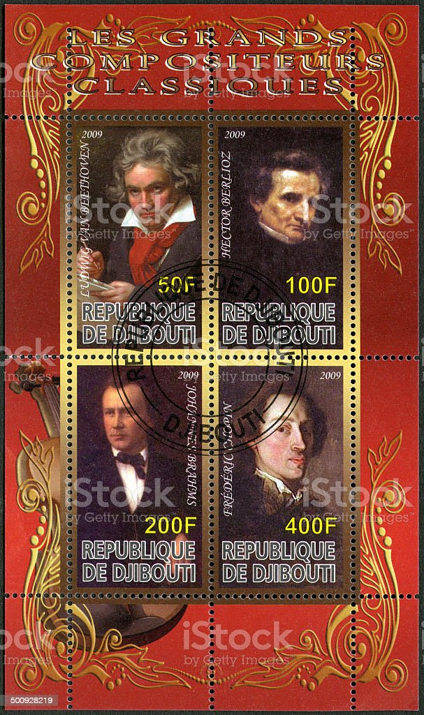 Postage stamp Djibouti 2009 shows Ludwig van Beethoven stock photo
