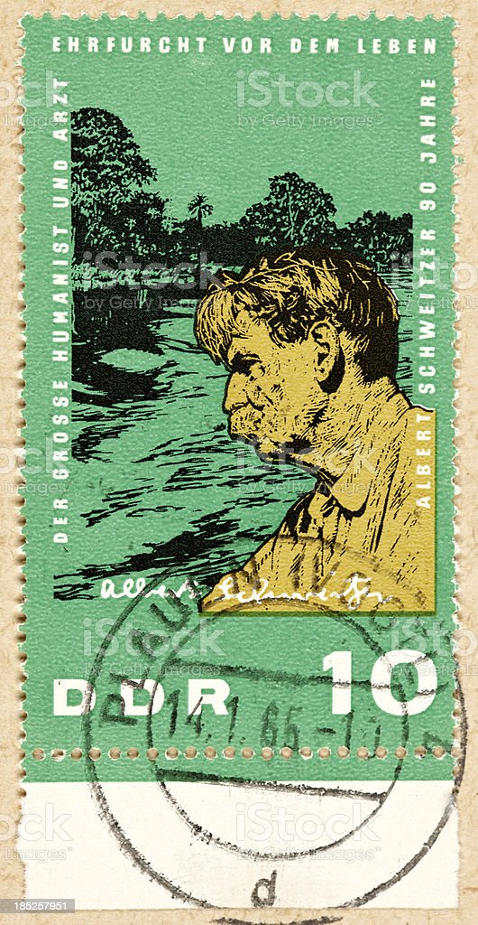 Postage stamp east germany 10 Albert Schweitzer stock photo