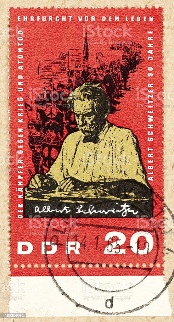 Postage stamp east germany 20 Albert Schweitzer stock photo