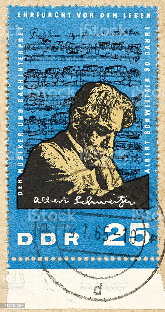 Postage stamp east germany 25 Albert Schweitzer stock photo
