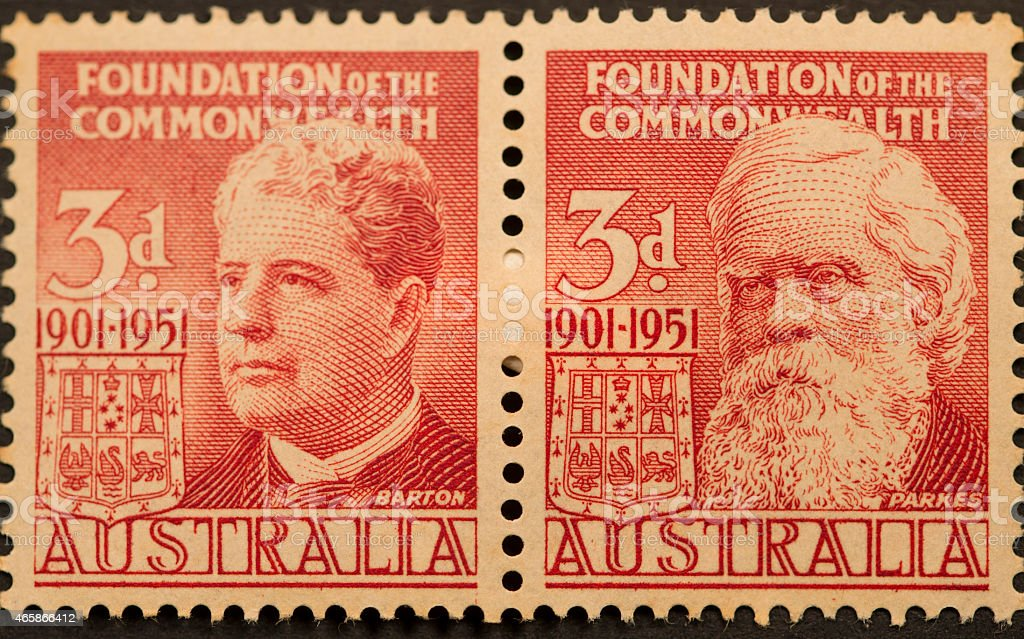 Postage Stamp - Foundation of Commonwealth stock photo