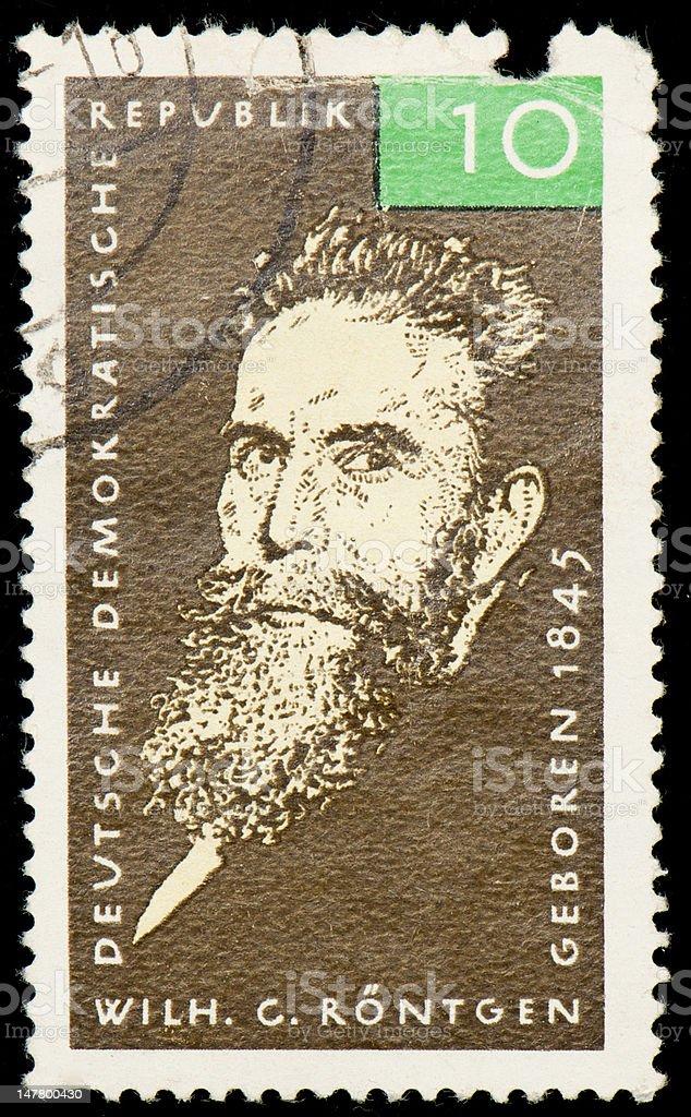Postage stamp from German Democratic Republic dedicated to Röntgen stock photo