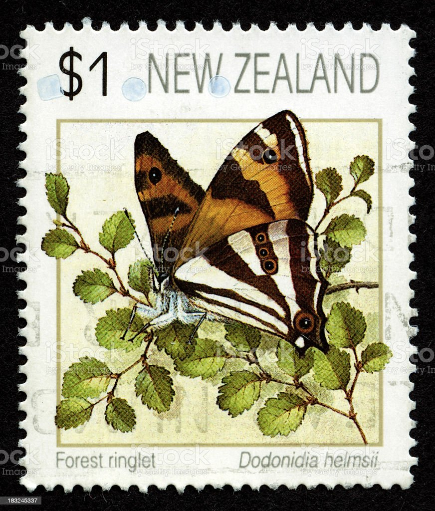 Postage stamp from New Zealand stock photo