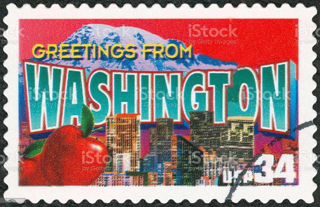 A postage stamp from Washington stock photo
