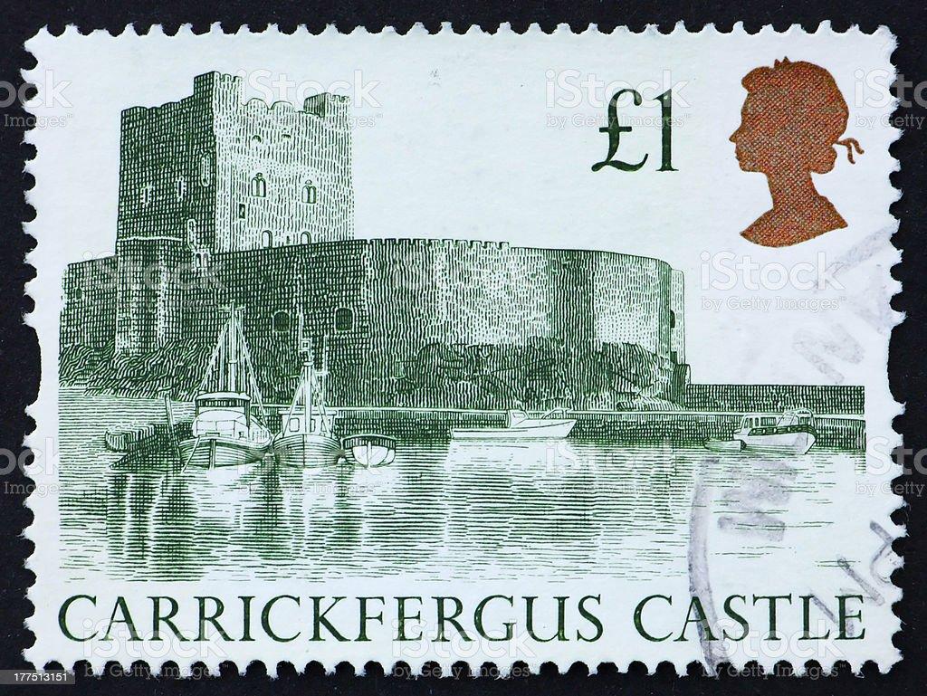 Postage stamp GB 1988 Carrickfergus Castle stock photo
