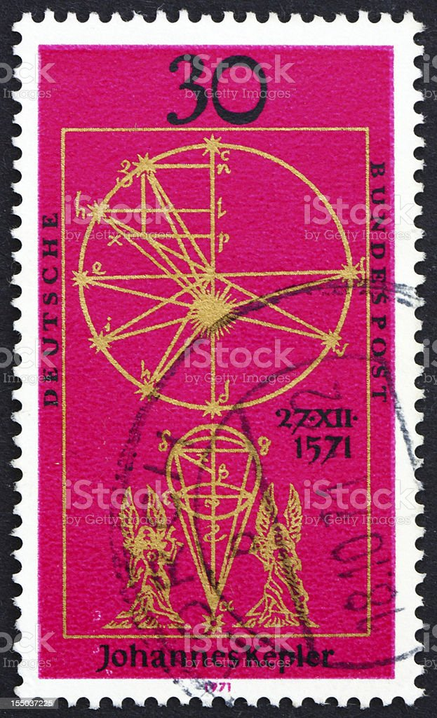 Postage stamp Germany 1971 Illustration from New Astronomy by Kepler stock photo