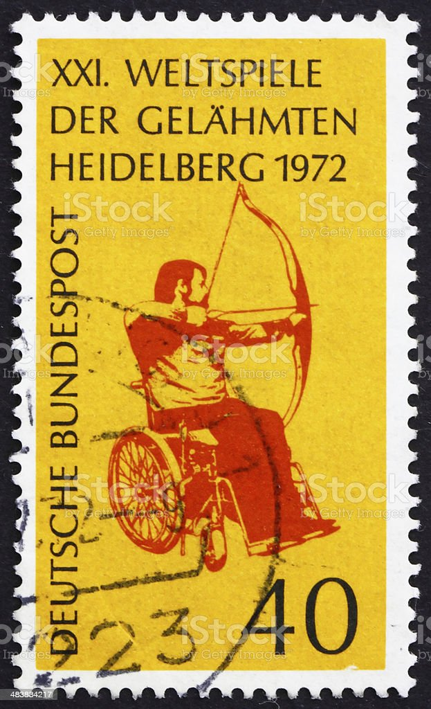 Postage stamp Germany 1972 Archer in Wheelchair royalty-free stock photo