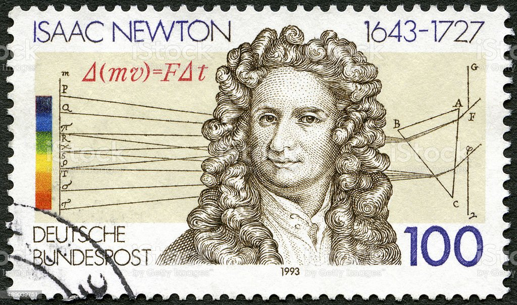 Postage stamp Germany 1993 Sir Isaac Newton 1642-1727, scientist stock photo