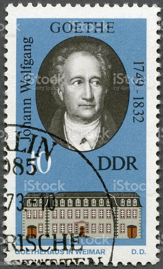 Postage stamp Germany DDR 1973 Goethe (1749-1832) stock photo