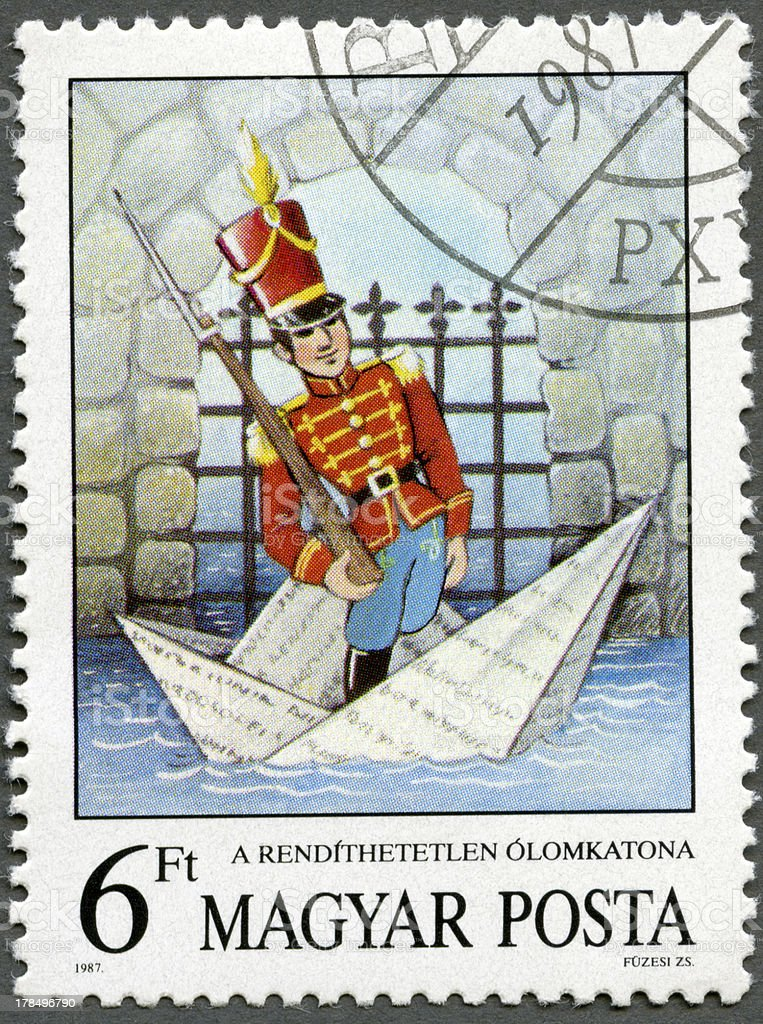 Postage stamp Hungary 1987  Steadfast Tin Soldier, Hans Christian Andersen royalty-free stock vector art