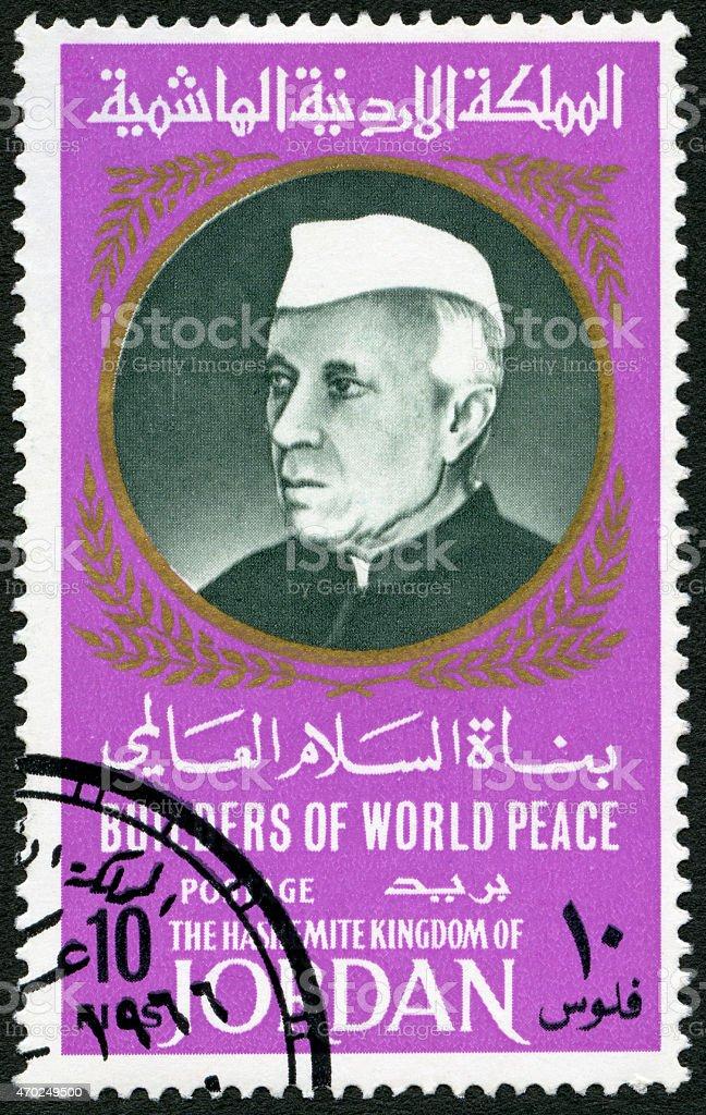 Postage stamp Jordan 1967 shows Jawaharlal Nehru (1889-1964) stock photo