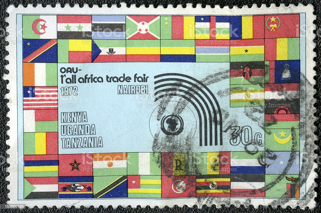 postage stamp KENYA 1972 First Africa Trade Fair Nairobi royalty-free stock photo