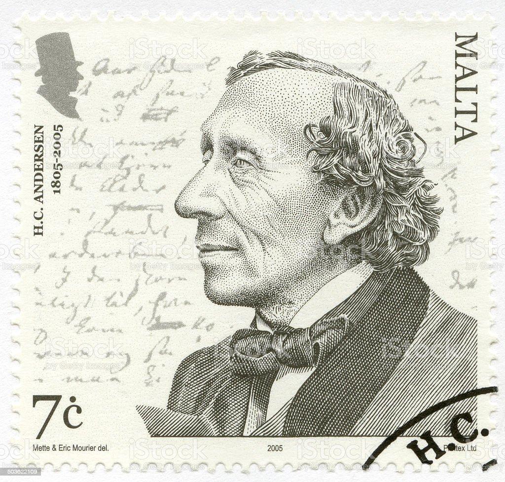 Postage stamp Malta 2005 shows Hans Christian Andersen stock photo