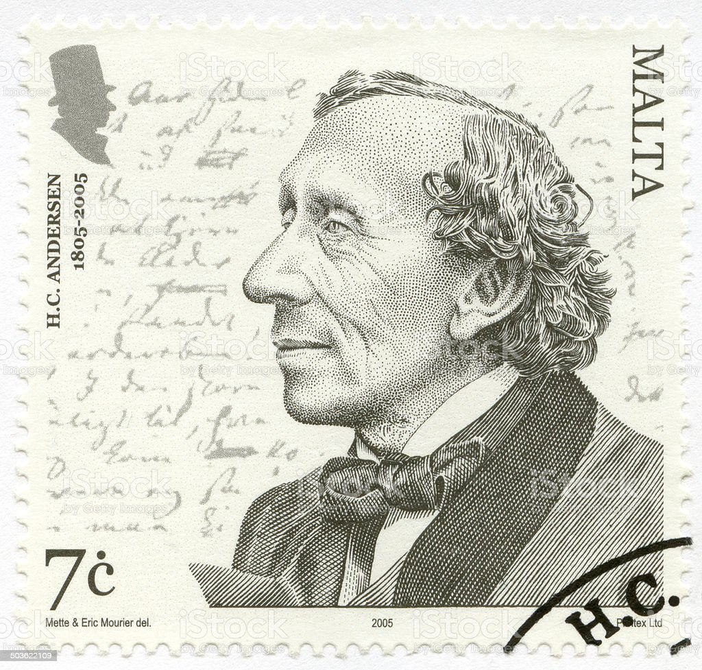 Postage stamp Malta 2005 shows Hans Christian Andersen stock photo