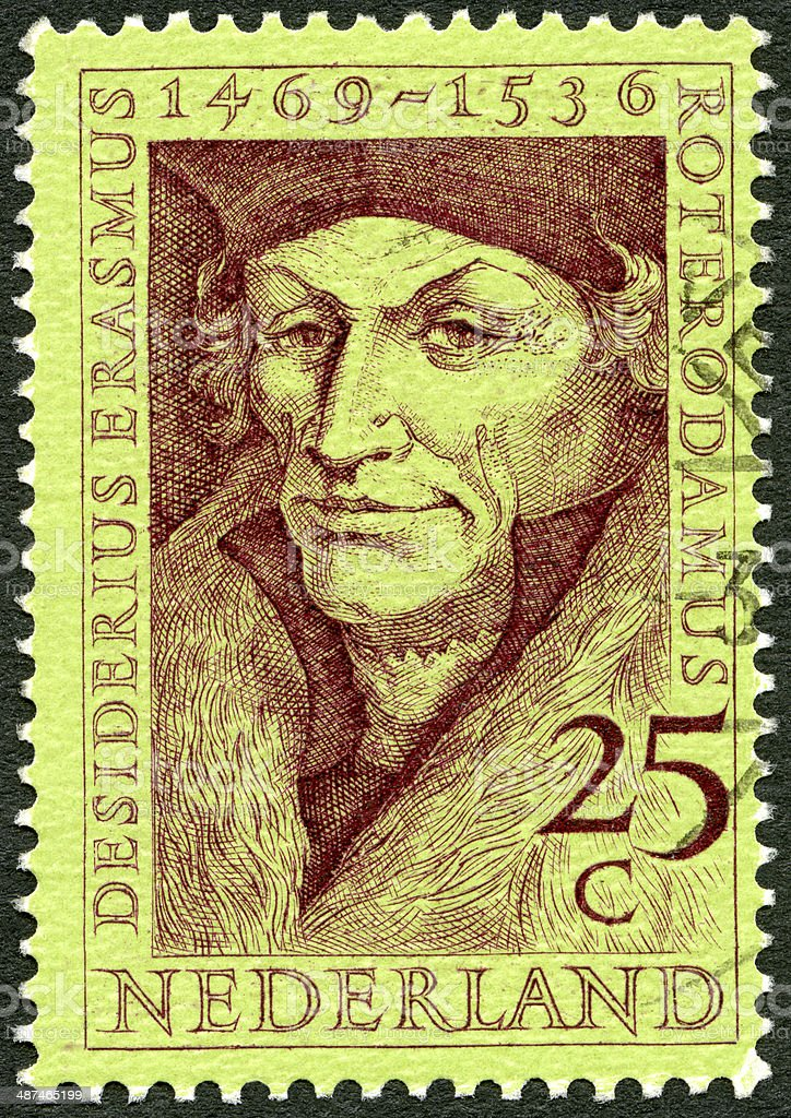 Postage stamp Netherlands 1969 Desiderius Erasmus 1469-1536 stock photo