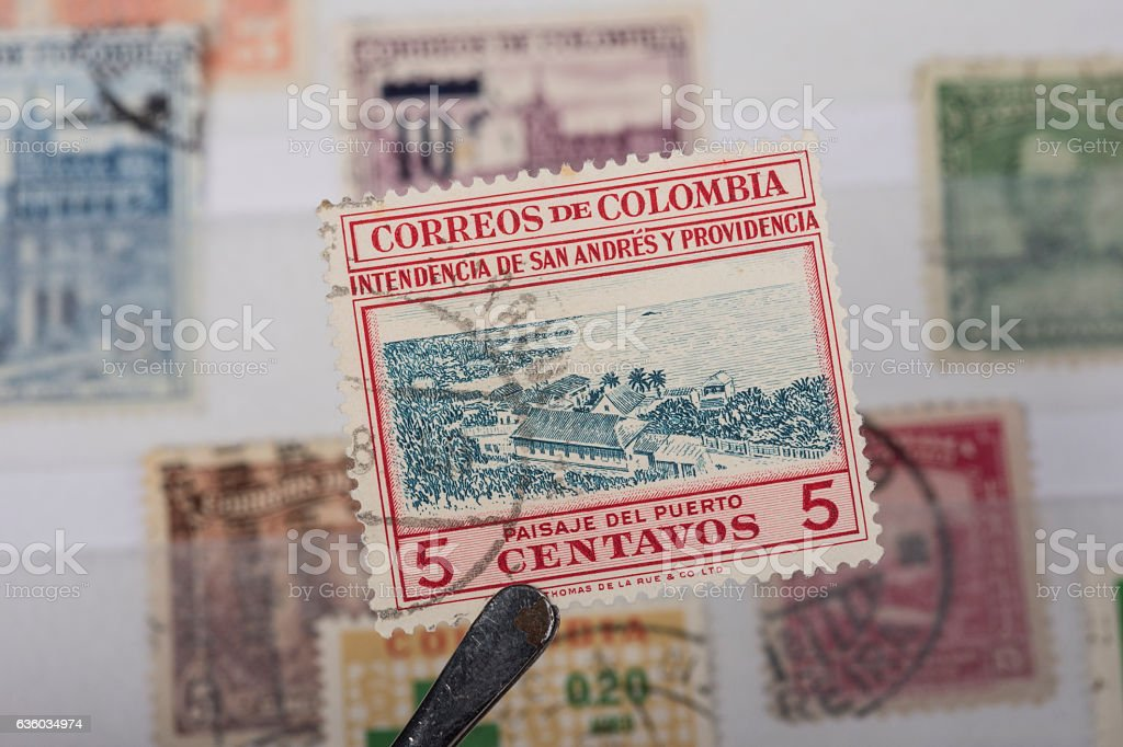 postage stamp of Colombia stock photo