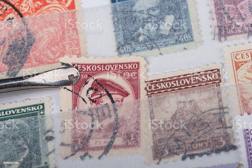 postage stamp of Czekoslovakia stock photo