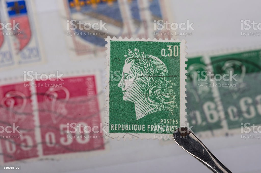 postage stamp of France stock photo