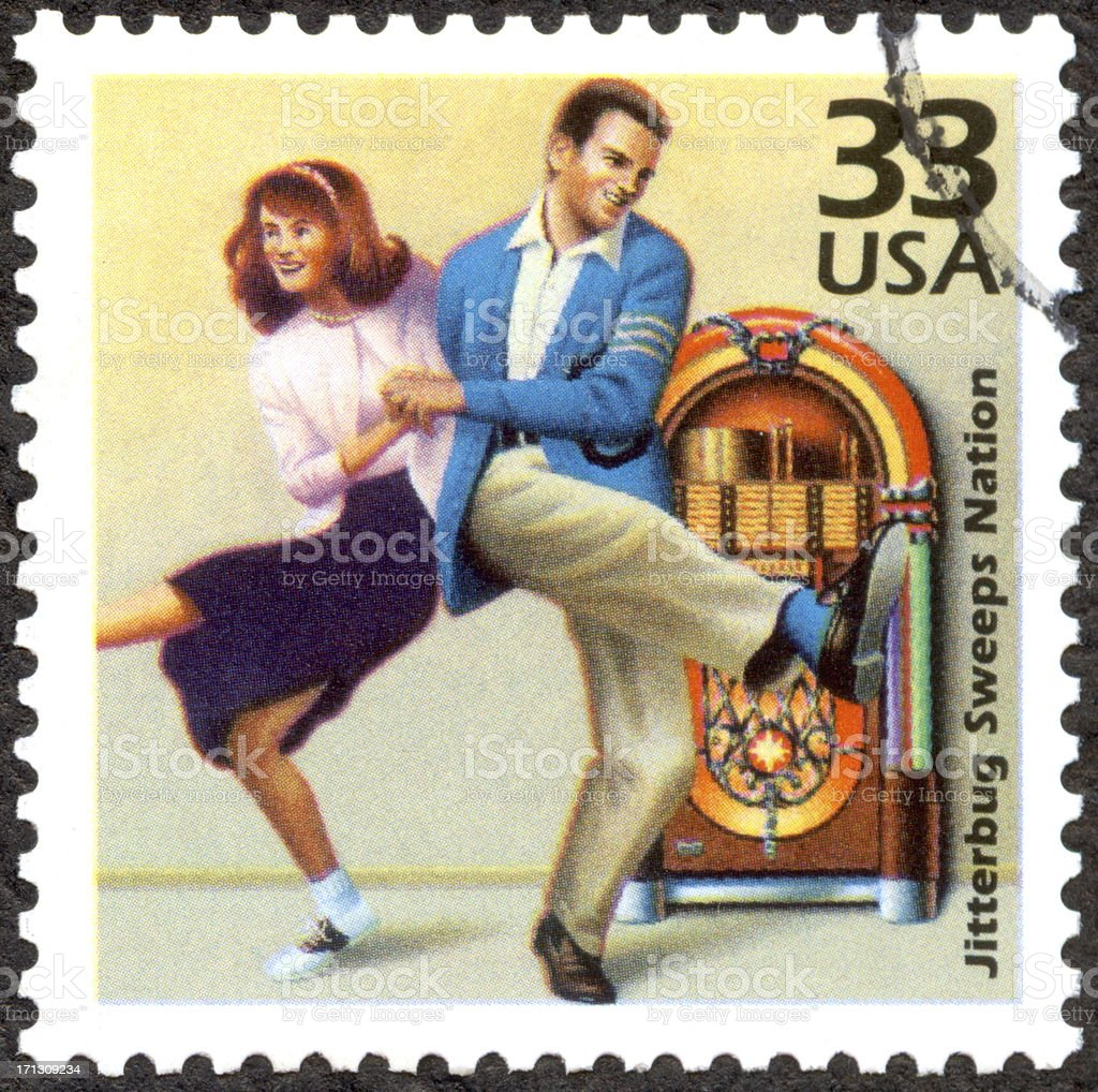 US Postage stamp of Jitterbug Dancing Couple stock photo