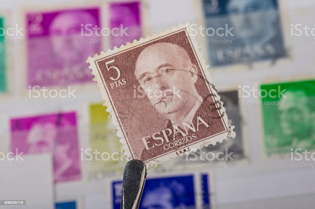 postage stamp of Spain stock photo