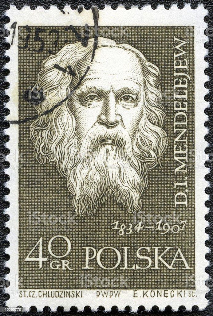 Postage stamp POLAND 1959 Dmitri Mendeleev stock photo