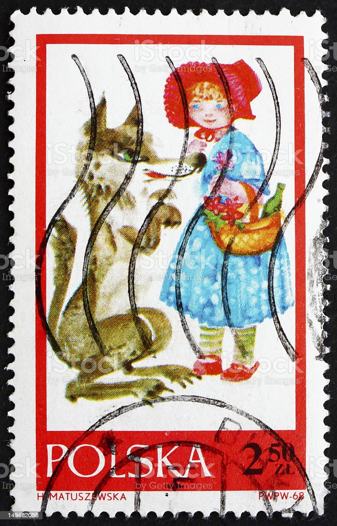 Postage stamp Poland 1968 Little Red Riding Hood stock photo