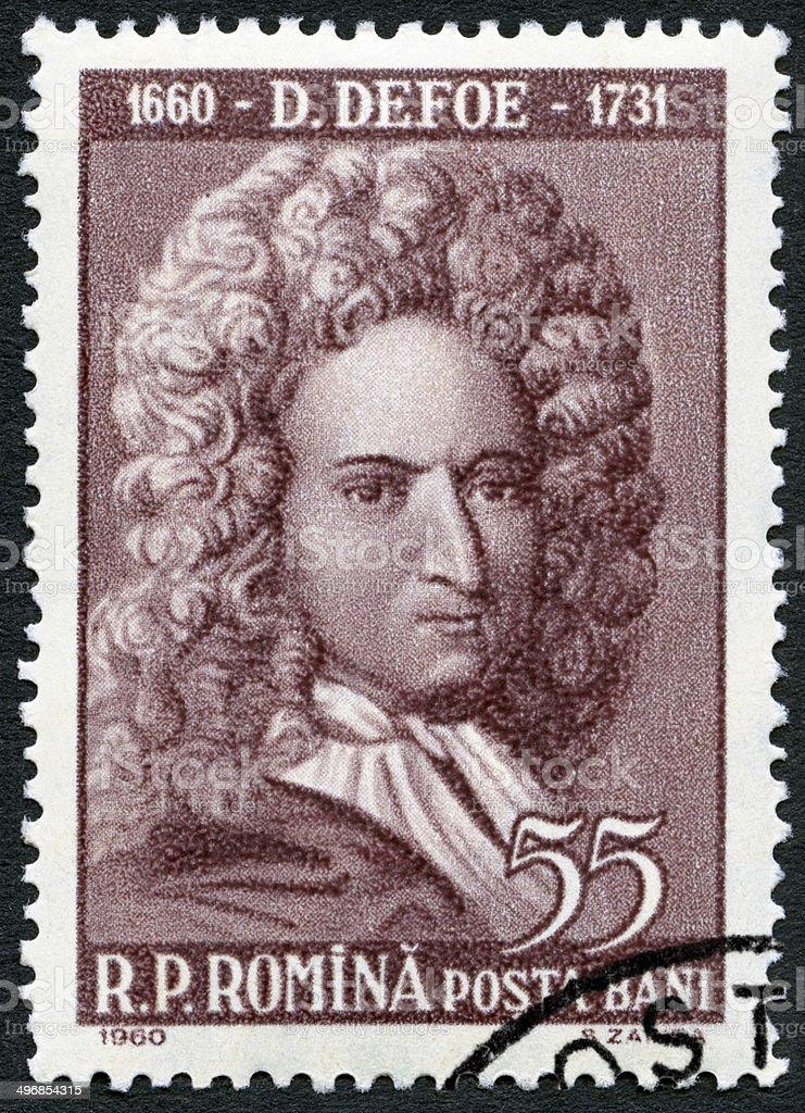 Postage stamp Romania 1960 shows Daniel Defoe (1660-1731) stock photo