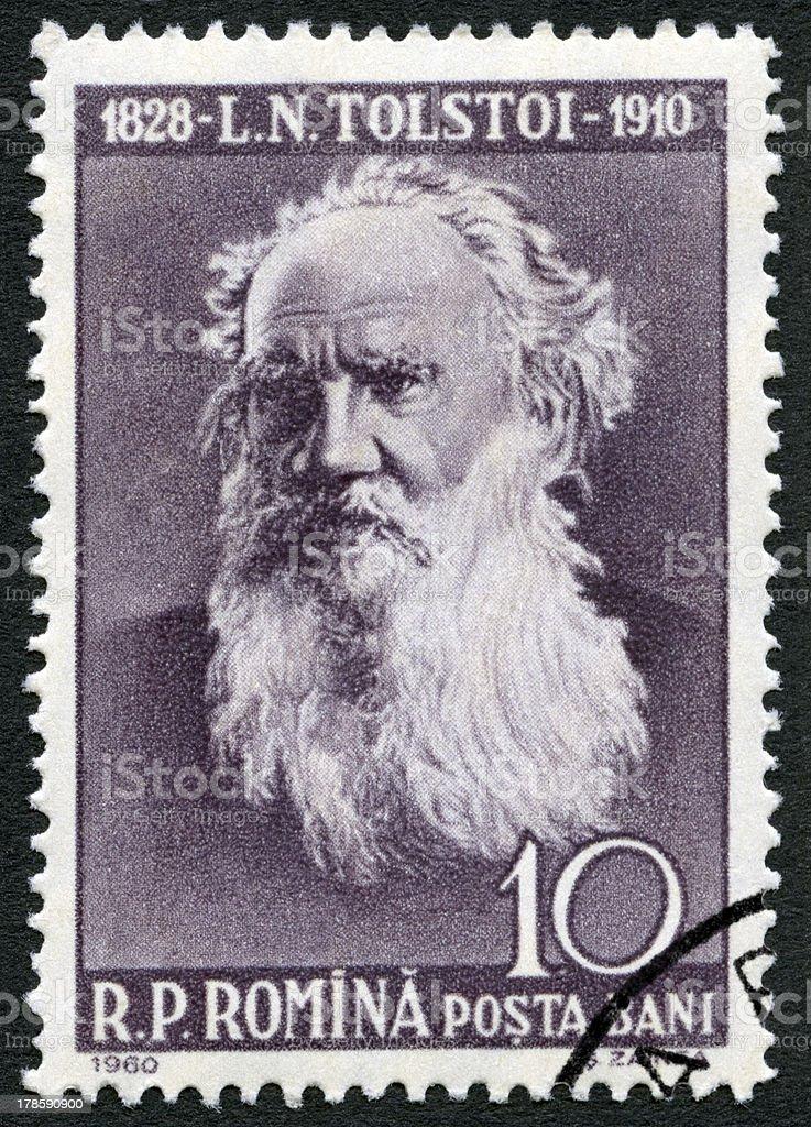 Postage stamp Romania 1960 shows Lev Nikolayevich Tolstoy (1828-1910) royalty-free stock photo
