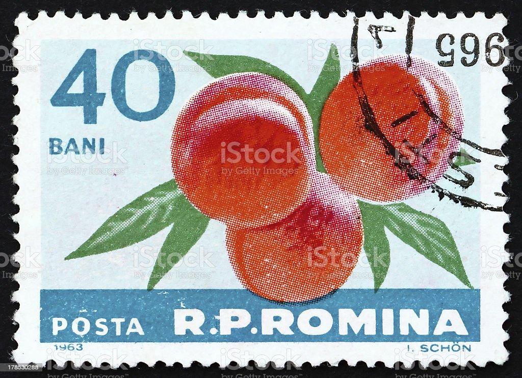 Postage stamp Romania 1963 Peaches, Prunus Persica, Fruit royalty-free stock photo
