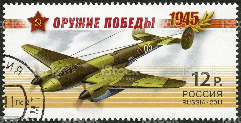 Postage stamp Russia 2011 shows dive bomber Pe-2 Weapon Victory royalty-free stock photo