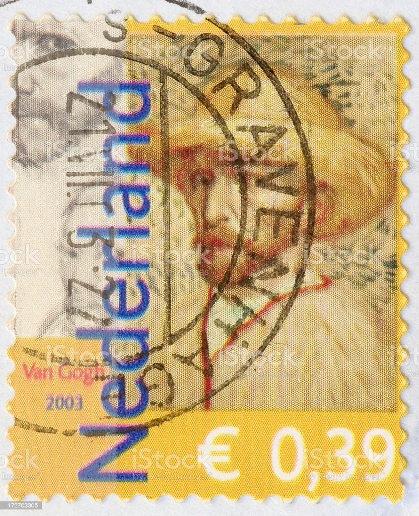 Postage Stamp: Self Portret of Vincent van Gogh (the Netherlands) royalty-free stock photo
