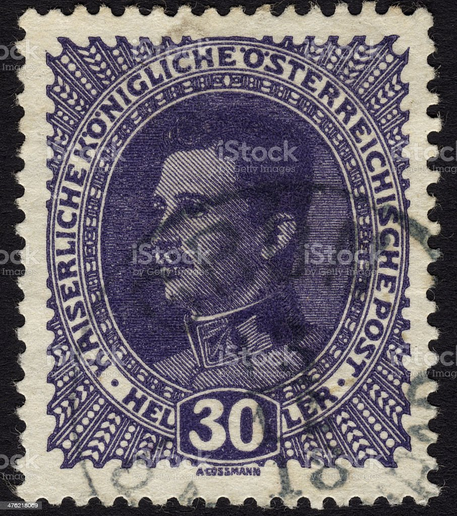 Postage stamp showing Austrian emperor Charles I stock photo